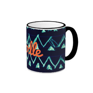 Crazy Tribal Doodle ZigZag Triangle Pattern Mugs