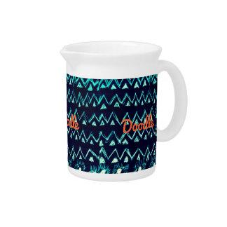Crazy Tribal Doodle ZigZag Triangle Pattern Drink Pitchers