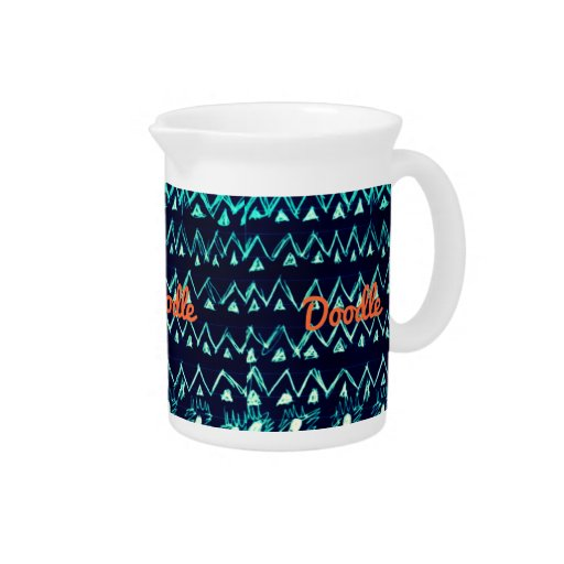 Crazy Tribal Doodle ZigZag Triangle Pattern Drink Pitchers