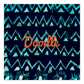 Crazy Tribal Doodle ZigZag Triangle Pattern Posters