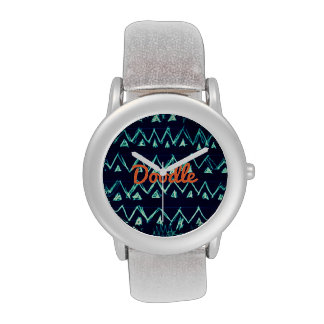 Crazy Tribal Doodle ZigZag Triangle Pattern Wrist Watches