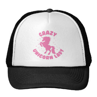 crazy unicorn lady circle in pink cap