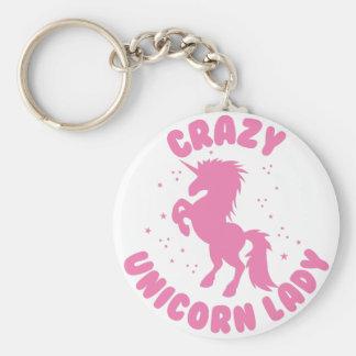 crazy unicorn lady circle in pink key ring