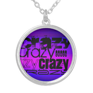 Crazy; Vibrant Violet Blue and Magenta Round Pendant Necklace