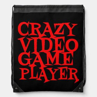 Crazy Video Game Player Drawstring Backpacks