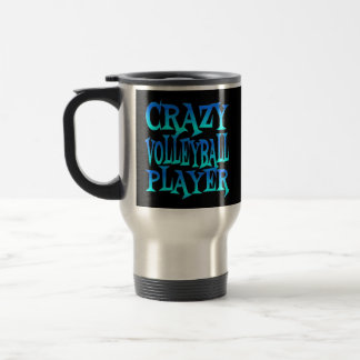 Crazy Volleyball Player in Blue Stainless Steel Travel Mug