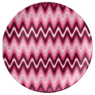 Crazy Wave Pink Porcelain Plate