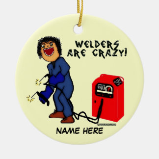 Crazy Welder Cartoon Round Ceramic Decoration