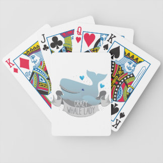 crazy whale lady bicycle playing cards