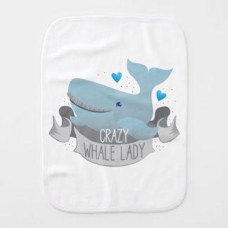 crazy whale lady burp cloth