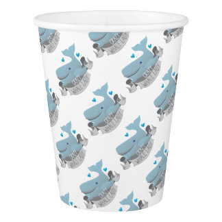 crazy whale lady paper cup