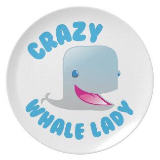 crazy whale lady plates