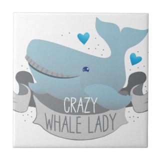 crazy whale lady tile