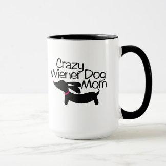 Crazy Wiener Dog Mom Ringer Coffee Mug