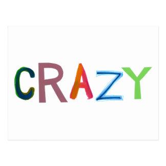 Crazy wild bold colorful goofy fun silly word art postcard