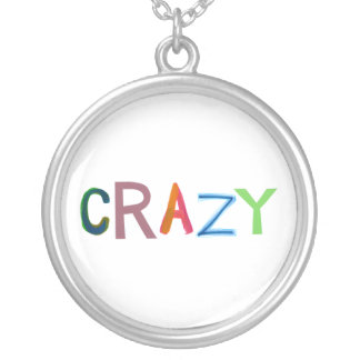 Crazy wild bold colorful goofy fun silly word art silver plated necklace