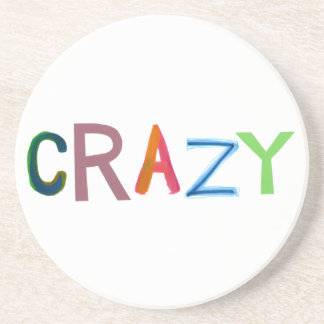 Crazy wild bold colourful goofy fun silly word art coasters