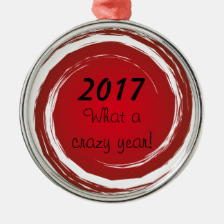 Crazy Year Red Polka Dots Swirling Sun Circles Metal Ornament