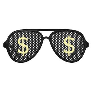 Crazy Yellow Dollars Shopping Stare Aviator Sunglasses