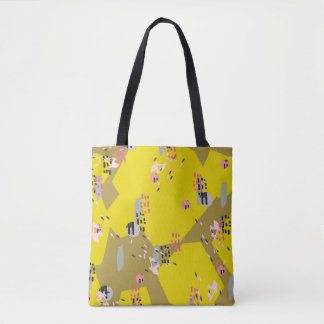 Crazy Yellow Pop // Abstract Pattern Tote Bag