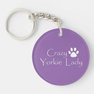 Crazy Yorkie Lady Key Ring