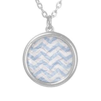 crazy zigzag paper blue necklace