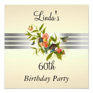 Cream 60th Birthday Party Invitation
