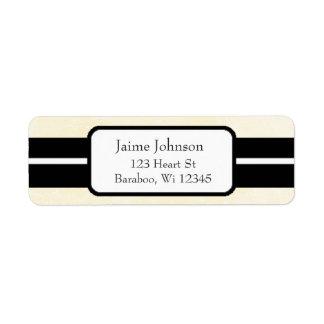 Cream and Black Classy  Return Address Sticker