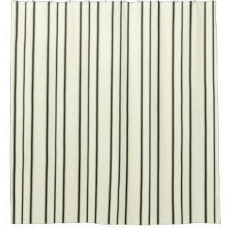 Cream and Black Pinstripe Shower Curtain
