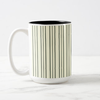 Cream and Black Pinstripe Two-Tone Coffee Mug