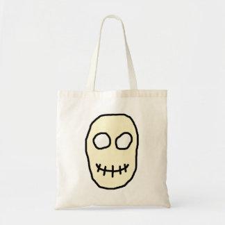 Cream and Black Skull. Primitive. Tote Bags