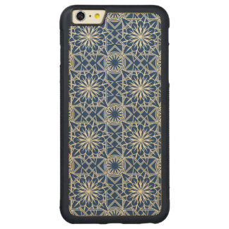 Cream and Blue Art Deco Floral Pattern Carved Maple iPhone 6 Plus Bumper Case