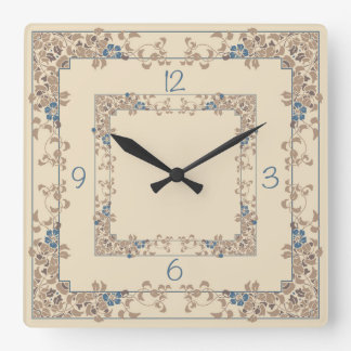 Cream and blue clematis borders wall clock