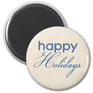 Cream and Blue Happy Holidays Magnet