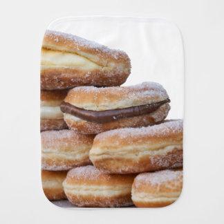 cream and chocolate donuts burp cloth
