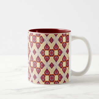 Cream And Cinnamon Brown Geometric Retro Pattern Two-Tone Coffee Mug