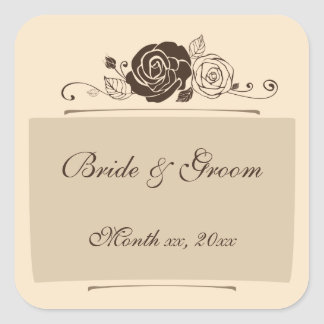 Cream and Coffee Roses Coordinating Gifts Square Sticker
