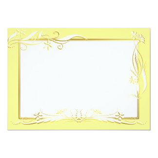 Cream and gold floral ornament 13 cm x 18 cm invitation card