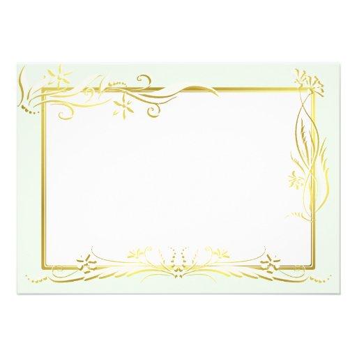 Cream and gold floral ornament custom invitations