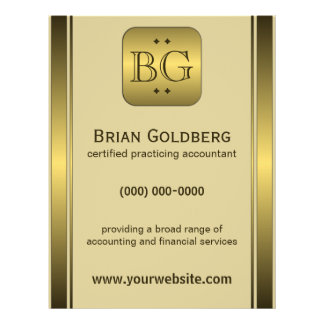 """Cream and Gold Plate 8.5"""" x 11"""" Accountant Flyers"""