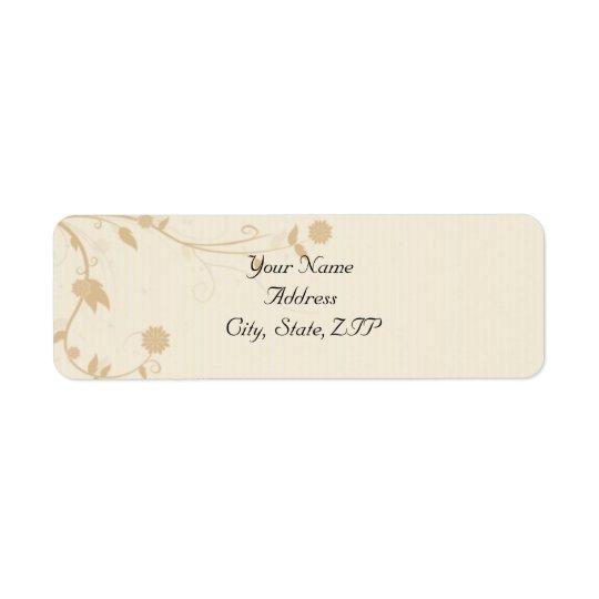 Cream and Gold Vintage Pinstripe Floral Return Address Label