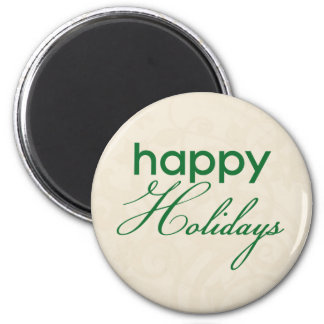 Cream and Green Happy Holidays Magnet