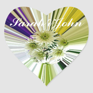 Cream and Green Striped Abstract Flower Design Heart Sticker
