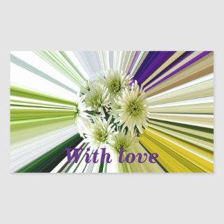 Cream and Green Striped Abstract Flower Design Rectangular Sticker