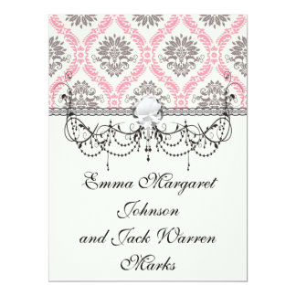 cream and grey tan damask bliss invites