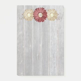Cream and Maroon Daisy on Coutnry Wood Design Post-it Notes