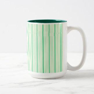 Cream and Mint Green Stripes Two-Tone Coffee Mug