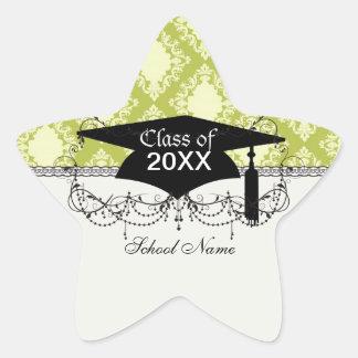 cream and olive diamond elegant damask grad sticker