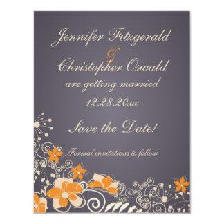Cream and Orange Autumn Flowers Save the Date 11 Cm X 14 Cm Invitation Card