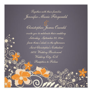 Cream and Orange Autumn Flowers Wedding Card